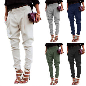Women-Casual-Harem-Pants-Lady-Skinny-Solid-Cargo-Jogger-Trousers-Office-Workwear