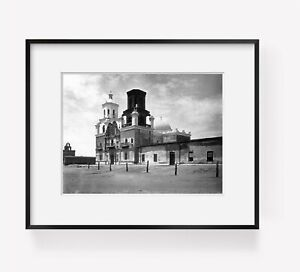 1902-San-Xavier-Mission-Tucson-Arizona-Vintage-Black-amp-White-Photograph