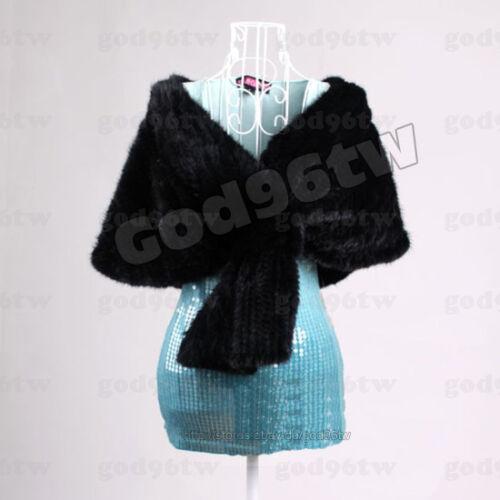 100/% Real Genuine Knit Mink Fur Scarf Cape Stole Shawl Coat Wrap Fashion Evening