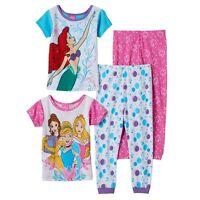 Disney Princess Ariel Girls Snug Fit Cotton 4 Pc Pajama Set 2t 4t