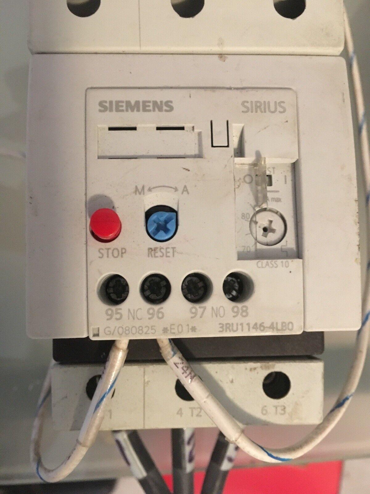 Siemens Sirius 3RU1146-4LB0 Motor Starter Overload Relay 3RT Contactor S3 70-90A