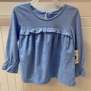 NWT-Toddler-Girls-George-Babydoll-Ruffle-Long-Sleeve-Top-Size-3T