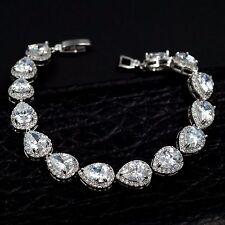 7.5 In White Gold GP Pear Cut Clear Cubic Zirconia CZ Tennis Bracelet 08274