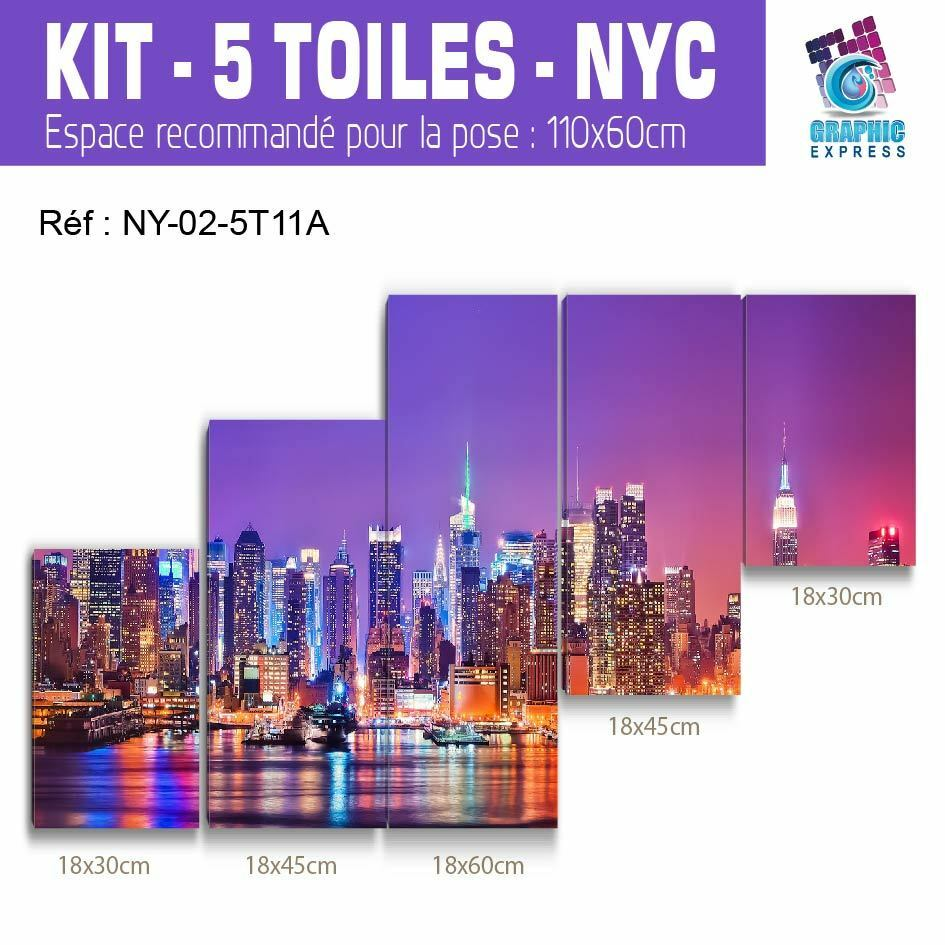 90x60cm- Kit 5 Dipinti Smith - Stampa Quadro Tessuto Decorazione - New York Ny