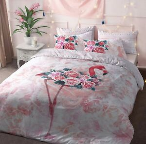 Flamingo-Ave-Floral-Rosado-funda-nordica-Edredon-Juego-De-Cama-Fundas-De-Almohada-Todas-Las-Tallas