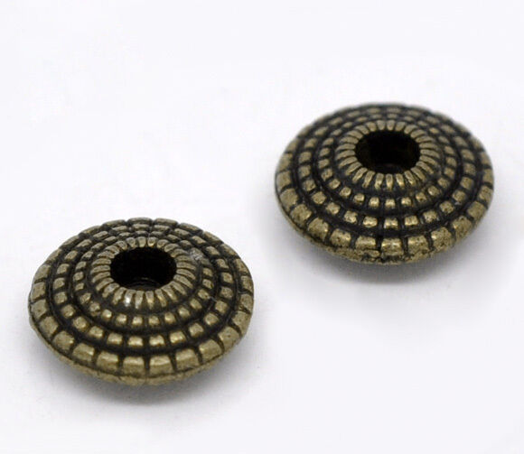 70 Bronze Tone Saucer Spacer Beads 8x4mm