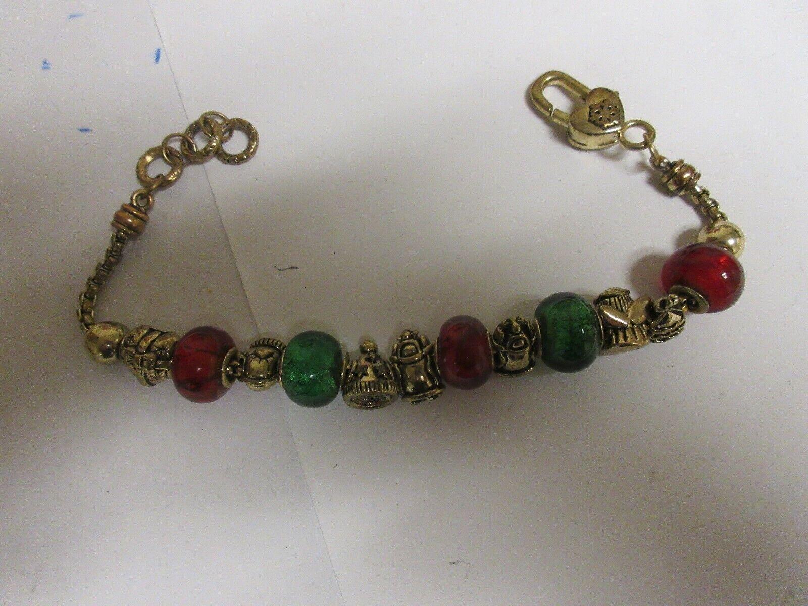 Costume Jewelry ,Charm Bracelet ,Vintage ,MultiColor ,9