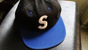 8c7b6726130 Supreme - 2-Tone Washed S Logo 6-Panel Black Hat S S16