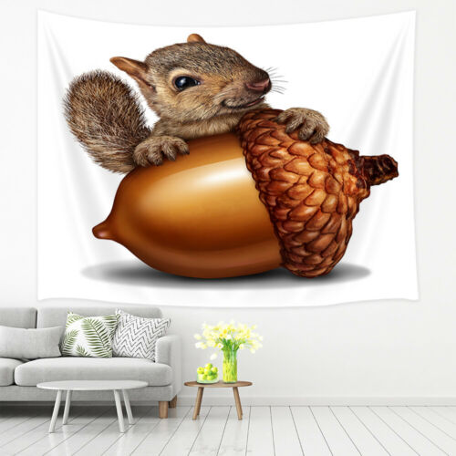 Cute Squirrel And Big Nut Hippie Tapestry Wall Hanging Rug For Living Room Decor