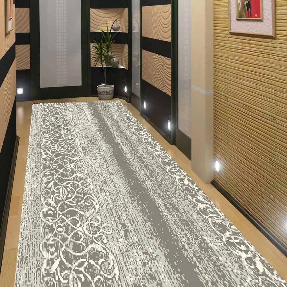 Alfiere TAPPETO alfiere corridoio 100% LANA VERGINE 80 cm di larghezza Crema Grigio Stile Barocco