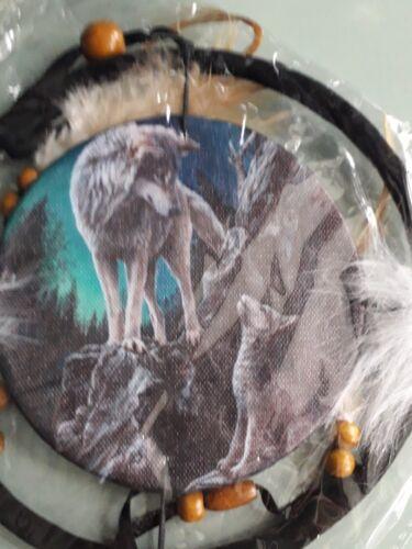 Lisa Parker nouvelle et scellée 16 cm Wolf Dream Catcher