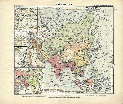 Cartina Geografica Prima Guerra Mondiale.Carta Geografica Antica Asia Prima Della 1 Guerra Mondiale 1914 Old Antique Map Ebay