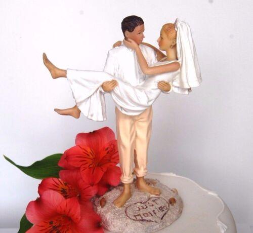 "/""Just Married/"" Beach Romantic Bride /& Groom Couple in Love Wedding Cake Topper"