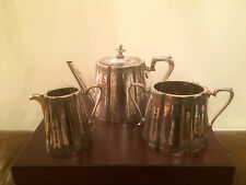 BEAUTIFUL VICTORIAN SILVER PLATED 3 PIECE TEA SERVICE  ( SPTS 7412)