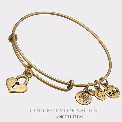 Authentic Alex and Ani Key To My Heart Gold Charm Bangle