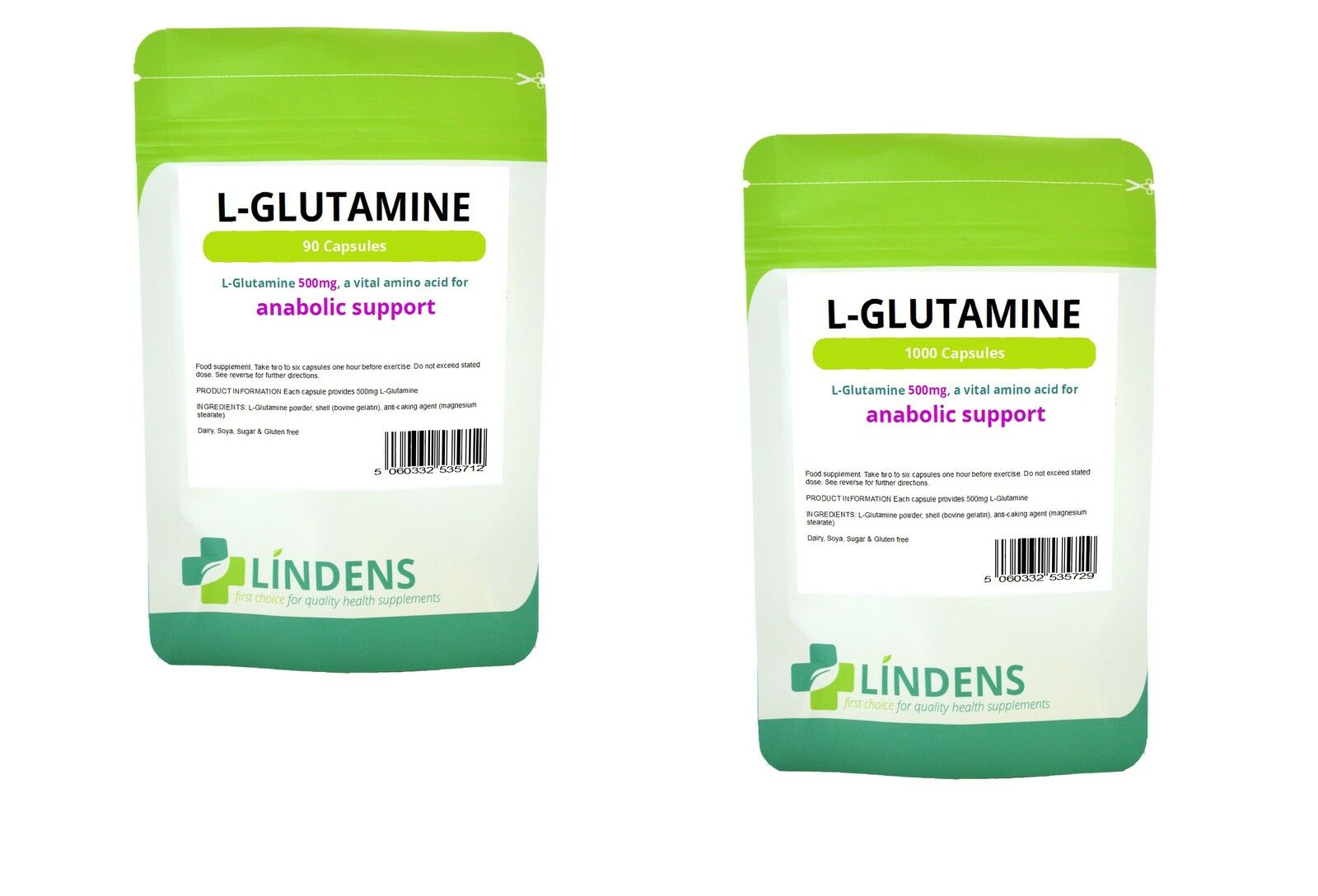 Lindens support l-glutamine - acides aminés 500mg 90 capsules Anabolique support Lindens sugar free 2f2ee0