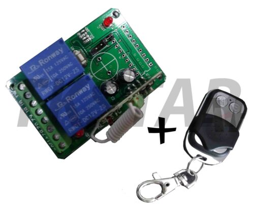 12V 2 Channel 433Mhz Radio Transmitter Receiver Switch potential free Hand Transmitter