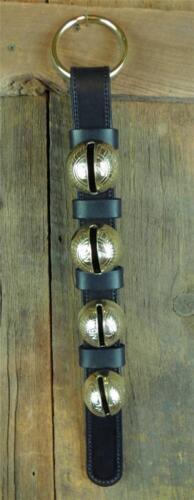 4 Classic/_SOLID BRASS SLEIGH BELLS/_DOOR HANGER/_LEATHER STRAP/_AMISH HANDMADE/_NEW