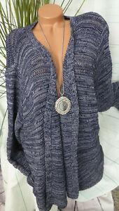 Tricotée Gr Bleu Ton Grandes 56 Tailles Veste Cardigan Sheego 225 AtwHxEqt