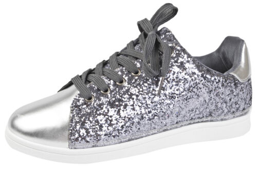 Womens Glitter Sports Trainers Ladies Metallic Lace Up Pumps Gym Running Shoes
