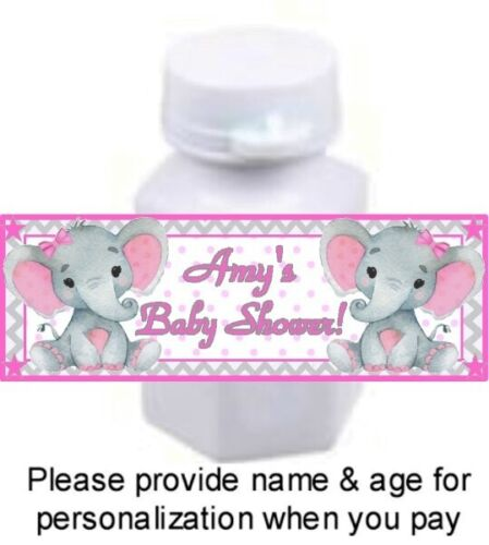 30 Elephant Baby Shower Birthday Party Mini Bubble Labels Sticker Pink Gray Girl