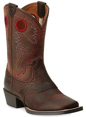 CHILDREN/'S//YOUTH ARIAT ROUGHSTOCK WESTERN BOOT RED STITCHING 10014101