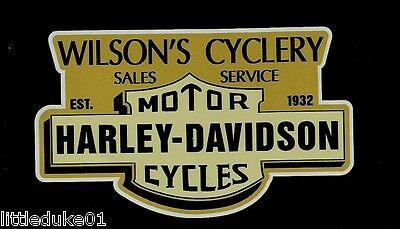 EST 1932 WILSONS CYCLERY Vinyl DECAL STICKER HARLEY DAVIDSON TRIUMPH MOTORCYCLE