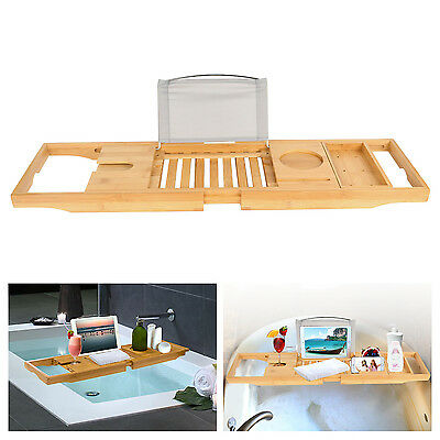 Bathtub Caddy Bamboo Bath Tub Rack Tray Bathroom Cloth Book/Pad/Tablet Holder