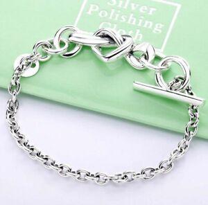 Steriling-Silver-Bracelet-for-Women-Knotted-Heart-Bracelet-fit-Lady-fine-Jewelry