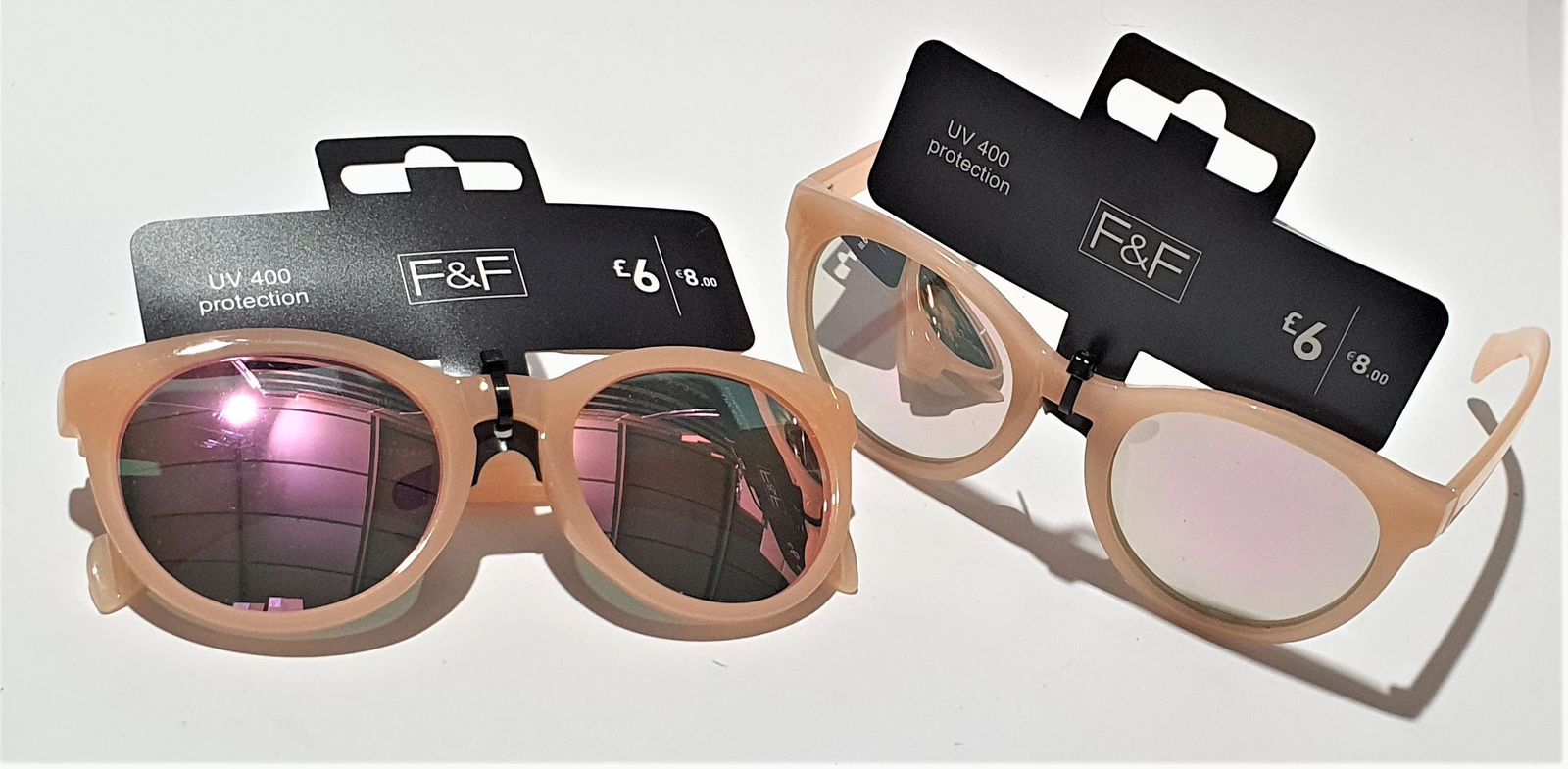 F&F Women's RETRO PINK - With Pink Mirror UV400 Protection Lenses TWIN PACK