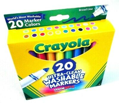 Crayola 20 Count Box Broad Line Ultra Clean Washable Markers Pens