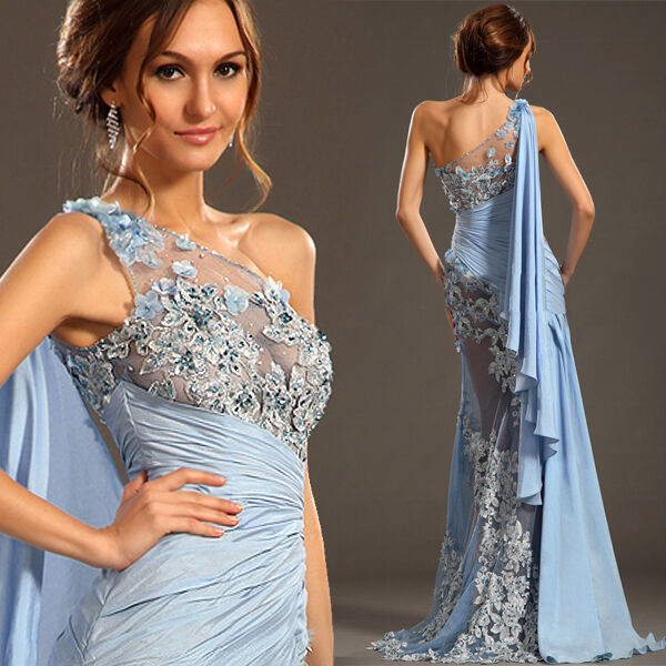 New Blue One Shoulder Sexy Halter Bride Wedding Dress& Train Chiffon Gown