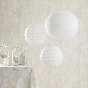 Confezione-da-3-White-Paper-ROUND-Da-Appendere-Lanterne-Cinesi-Decorazioni-Festa-Matrimonio