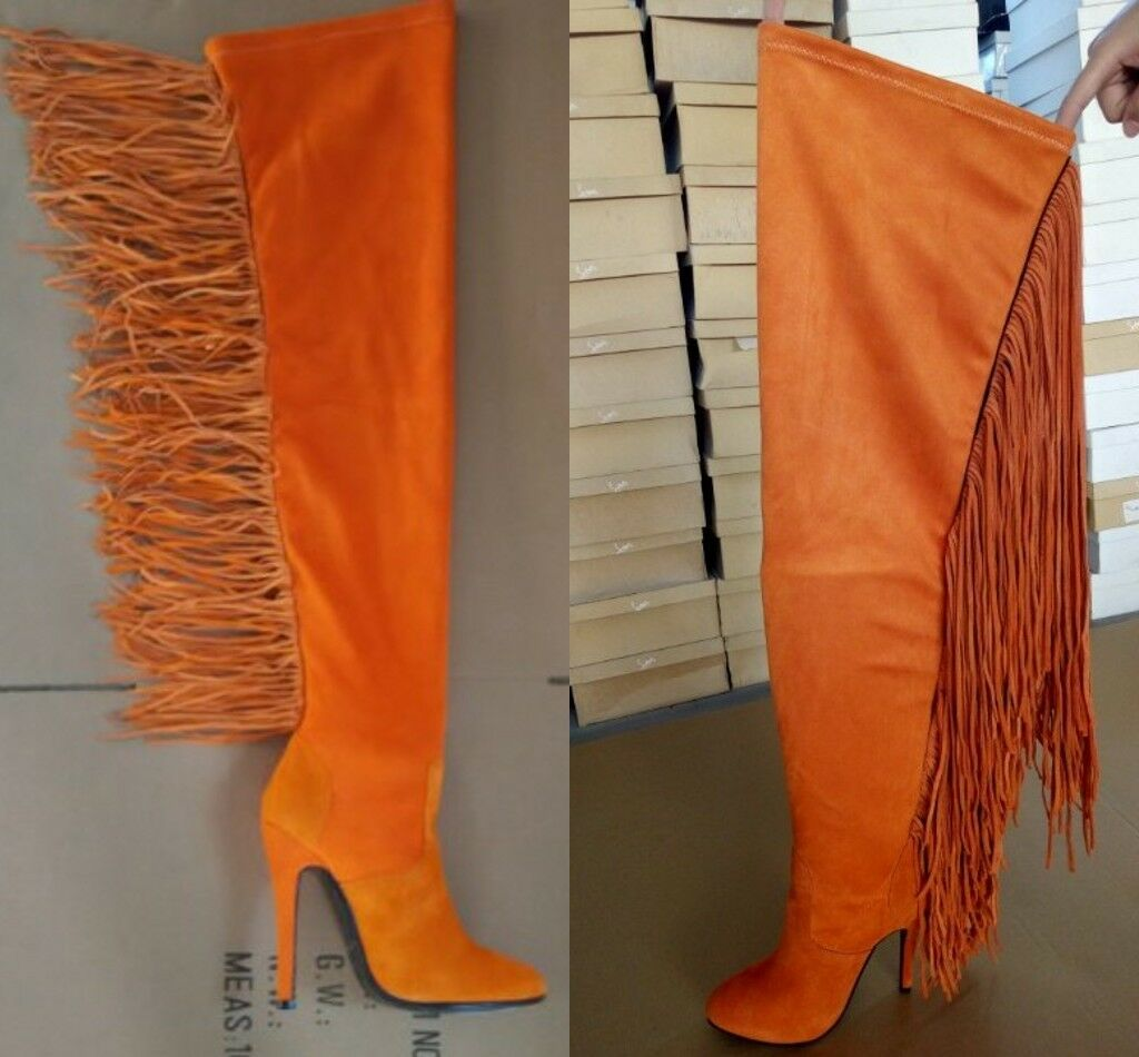Women's Long Tassels Fringe Longline Over Knee Thigh Leg High Boots Winter shoes