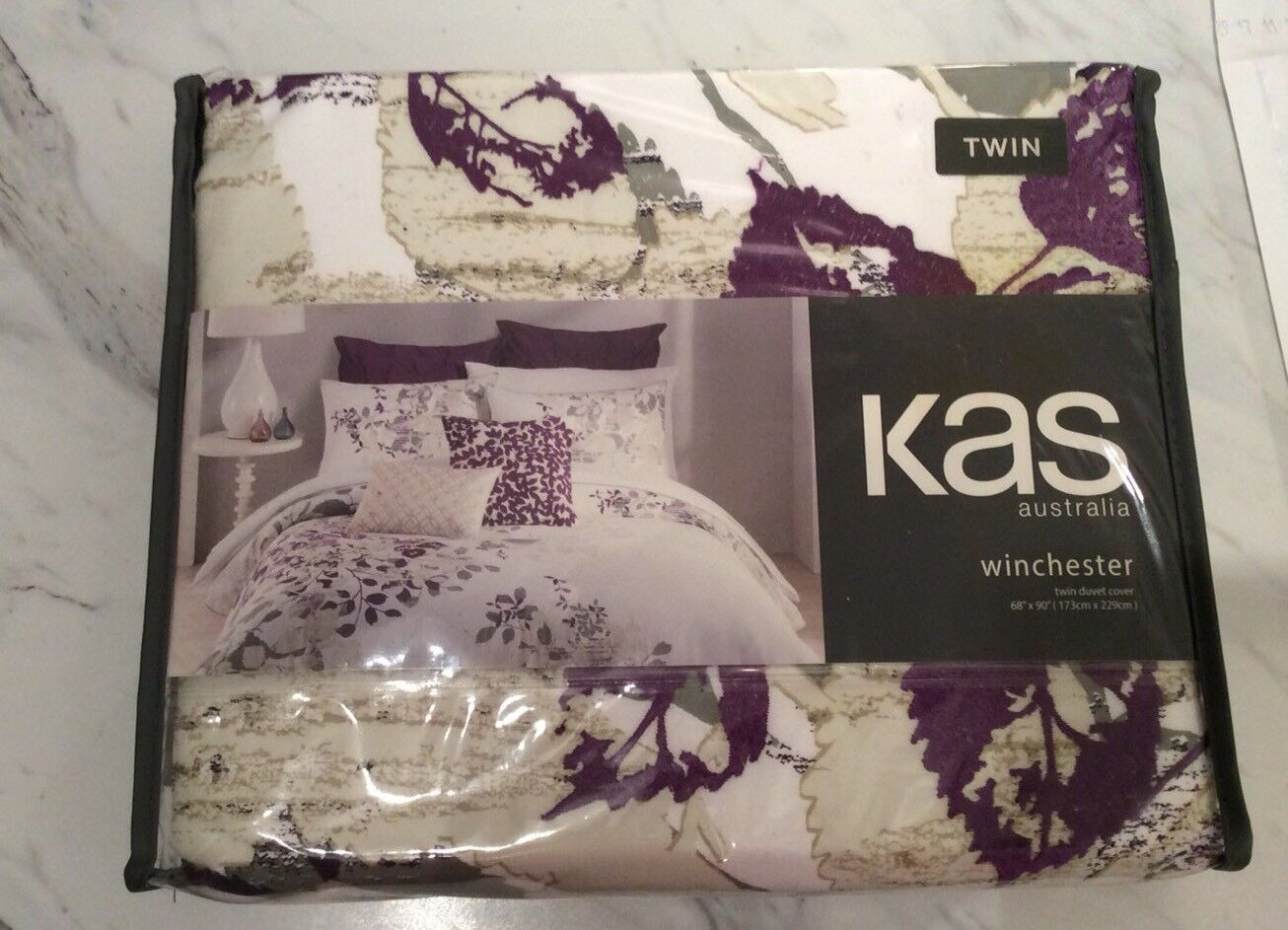 KAS AUSTRALIA WINCHESTER TWIN DUVET COVER WHITE PURPLE NATURE EMBROIDERED