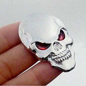 Silver-3D-Skull-Skeleton-Car-Motorcycle-Decal-Devil-Metal-Sticker-Emblem-Badge