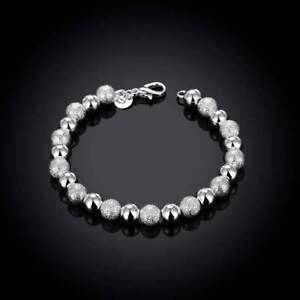 Bracelet-argent-034-Silver-Frozen-Pearls-034-8-mm-X-19-5-cm-Env-de-France-immediat