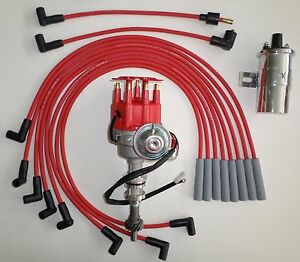 Details about FORD 351C/M-400-429-460 RED Small HEI Distributor + 45K Coil  + SPARK PLUG WIRES