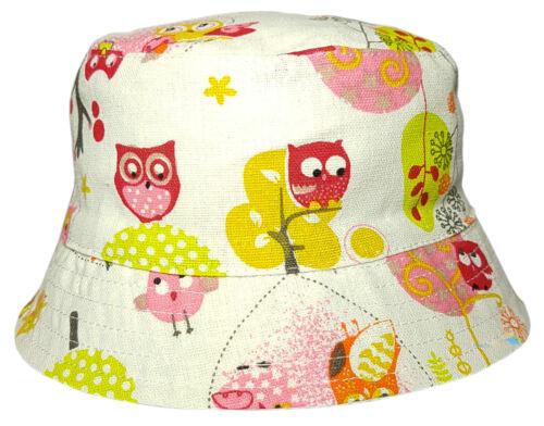 Girls Squirrel and Owl Design Cotton Bush Bucket Hat Summer Sun