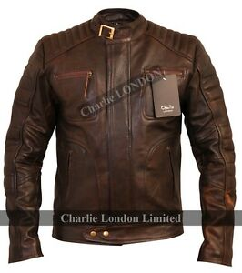Mens Classic Vintage Brown Biker Style Leather Jackets