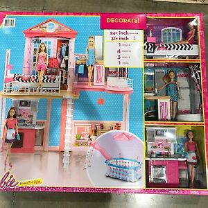 New mattel barbie house 2 story 3 dolls girl dream townhouse play pool toy ebay for Barbie doll house with swimming pool