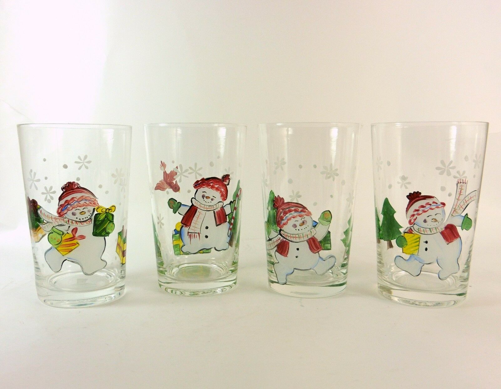 Christmas Snowman Tumbler Glasses Set of Four ( 4 ) Hand Painted