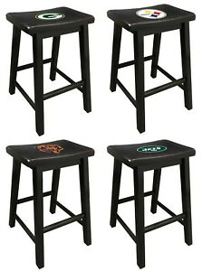 Wondrous Details About Black Finish Saddle Style Bar Stool 24 Or 29 Tall Nfl Team Logo Decal Man Cave Ocoug Best Dining Table And Chair Ideas Images Ocougorg