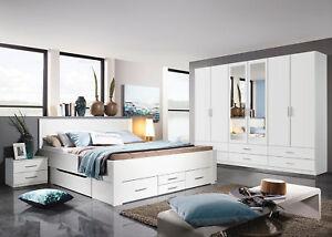 Rauch-Schlafzimmer-Set-Drehtuerenschrank-6-tuerig-Schubkastenbett-Nachtkonsole
