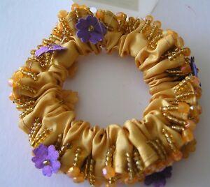 1 New Gold Beaded Cheveux Chouchou Femme Ados Satin Polyester Bandes élastiques Attaches-afficher Le Titre D'origine Doux Et Doux