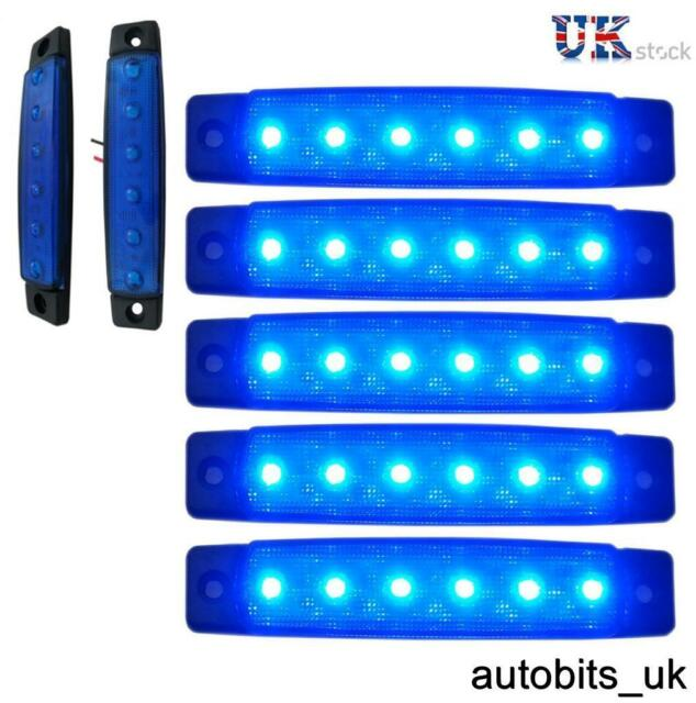 5 pcs Blue 12v 6 LED Side Front Marker Indicators Lights Lamp Truck Trailer