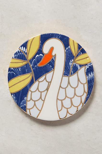 Neuf avec étiquettes Anthropologie Natura sous-verres table Décoration De Cuisine Tasse Cygne Oiseau 4Pc