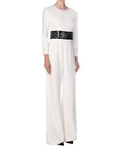 24f0f3eebe7e GENNY White Black Embellished Crystal Wide Leg Dress Jumpsuit 44 8 ...