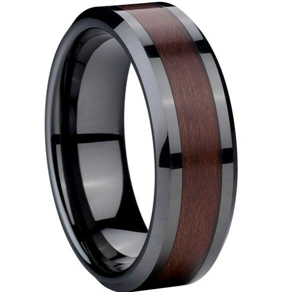 8MM Size 7-15 Ceramic Wedding Ring Black Red Wood Husband Anniversary Statement