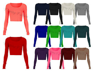 New-Womens-Long-Sleeve-Crop-Top-Round-Neck-T-Shirt-Ladies-UK-Size-8-10-12-14